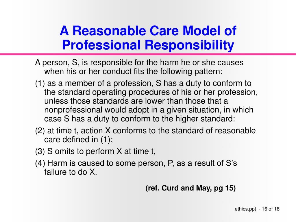 A Reasonable Care Model of Professional Responsibility