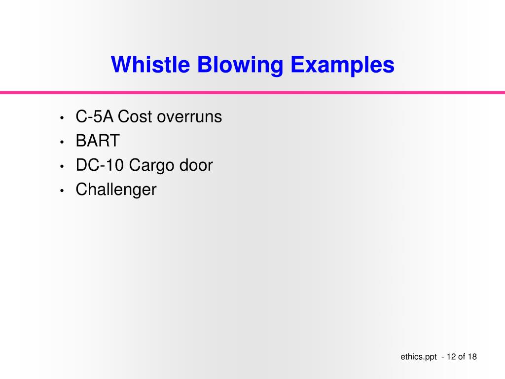 Whistle Blowing Examples