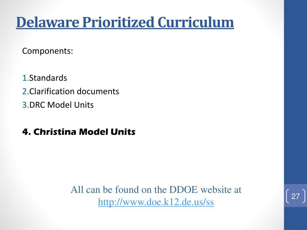 Delaware Prioritized Curriculum