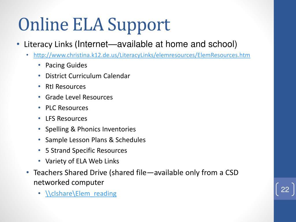 Online ELA Support