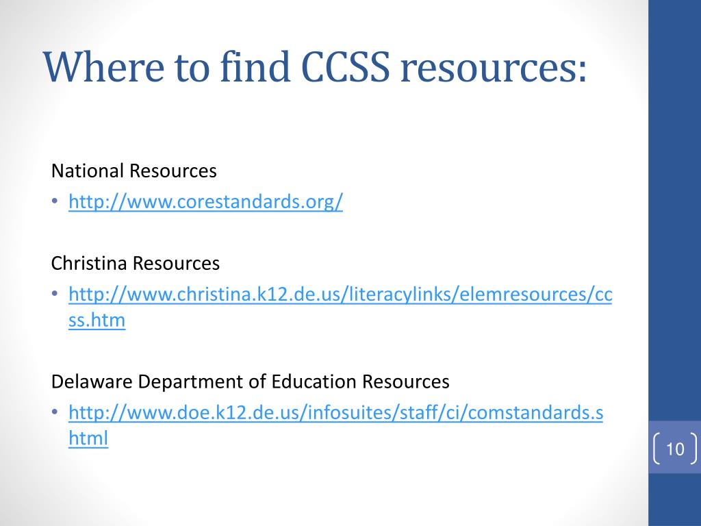 Where to find CCSS resources: