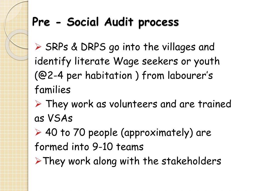 Pre - Social Audit process