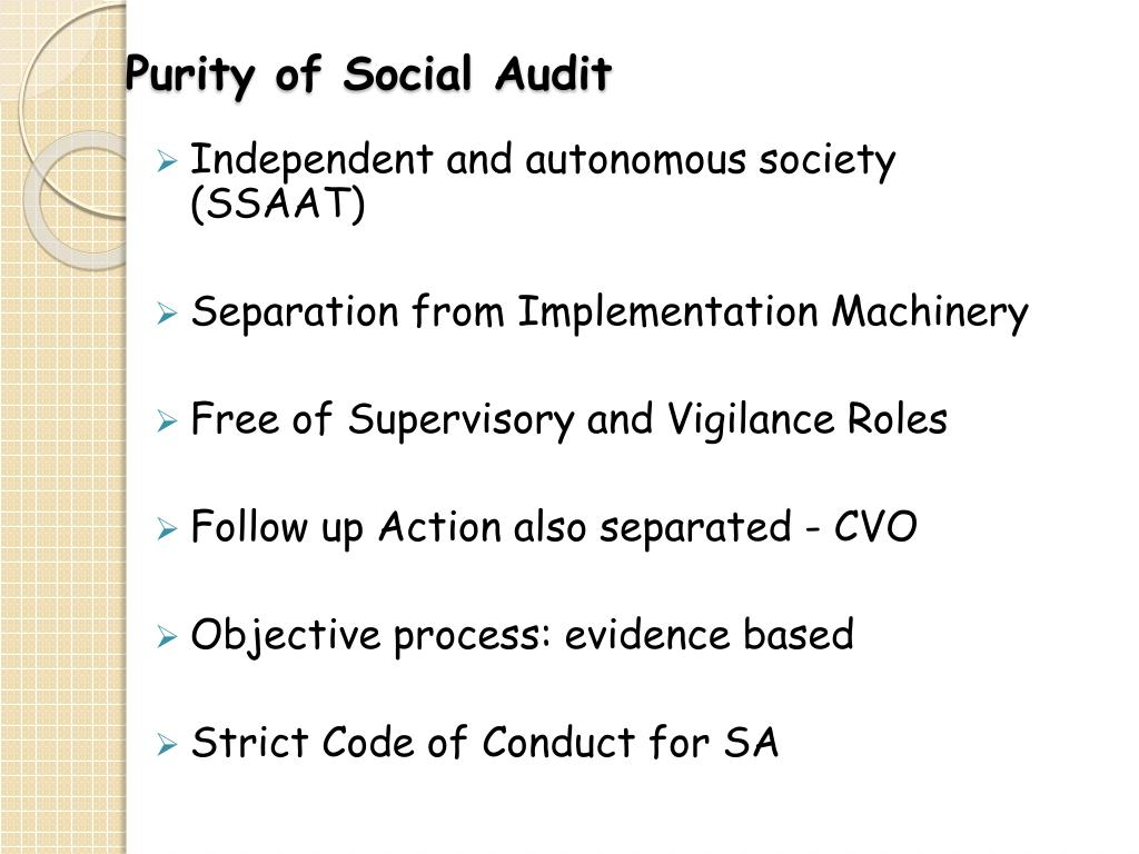 Purity of Social Audit