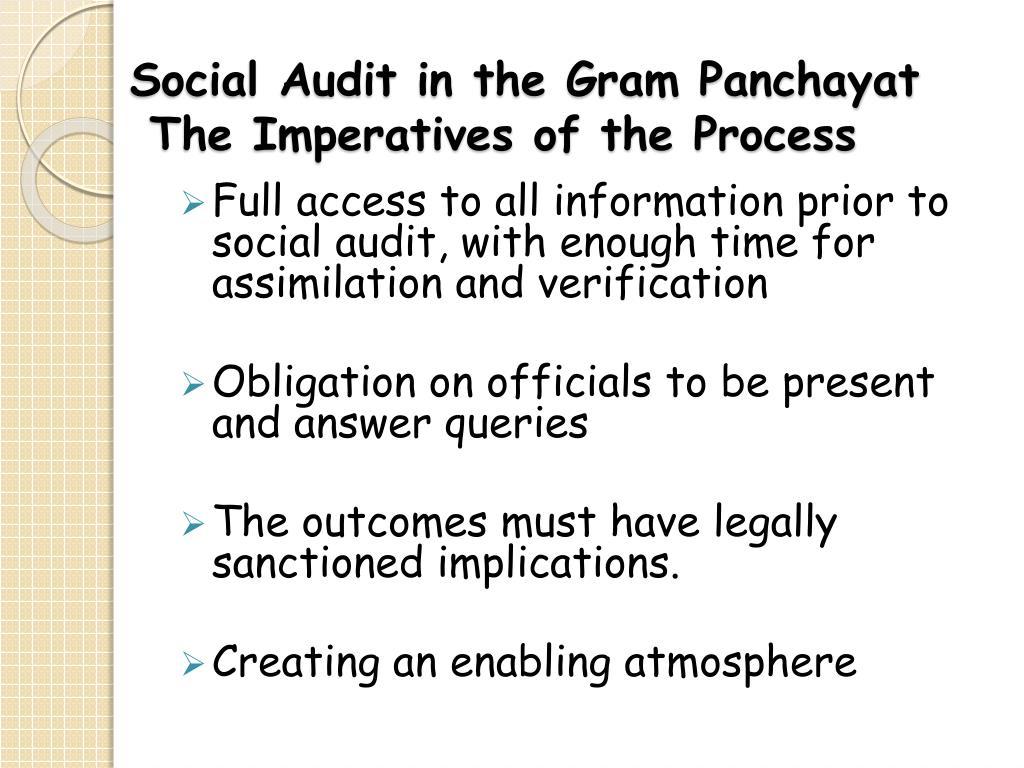 Social Audit in the Gram Panchayat