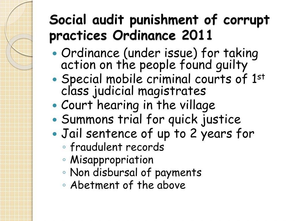 Social audit punishment of corrupt practices Ordinance 2011