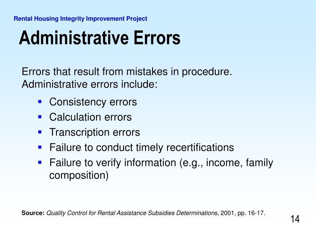 Administrative Errors