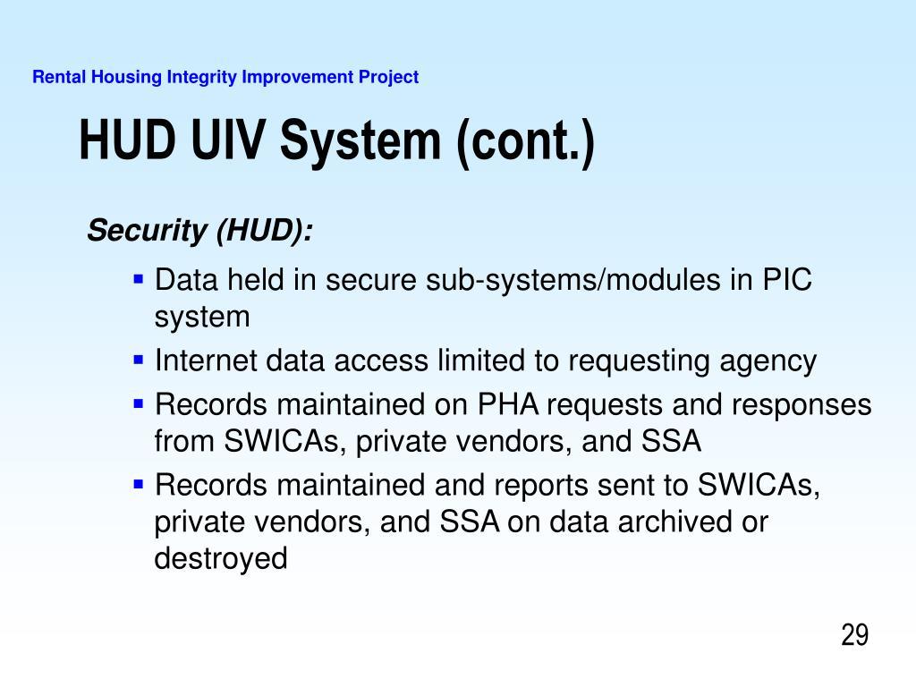 HUD UIV System (cont.)