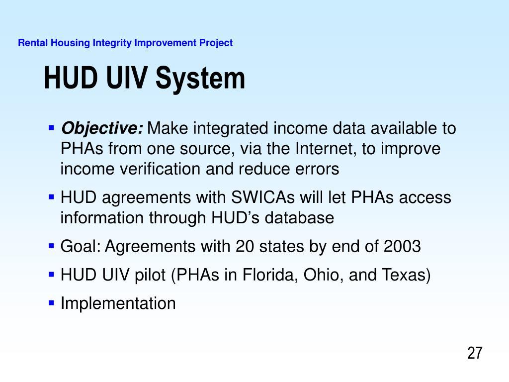 HUD UIV System