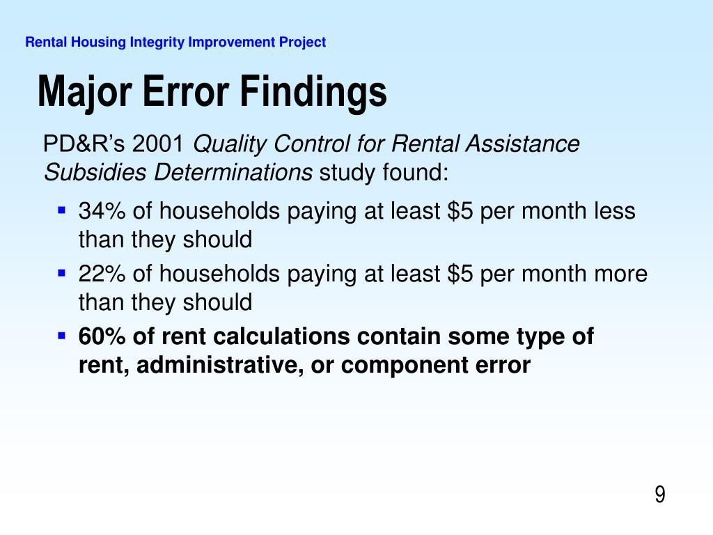 Major Error Findings