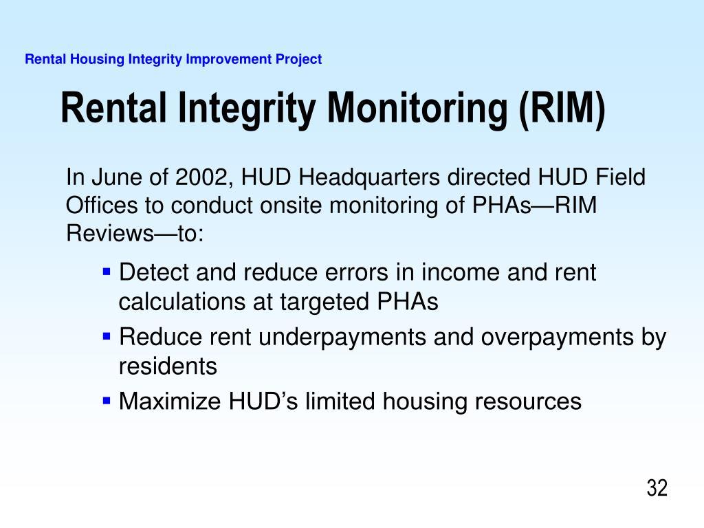 Rental Integrity Monitoring (RIM)