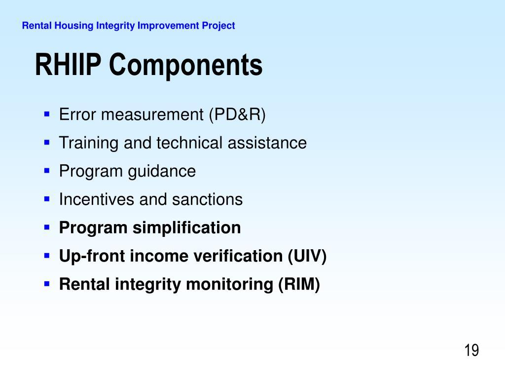Error measurement (PD&R)