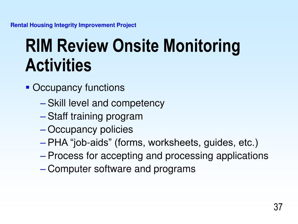RIM Review Onsite Monitoring Activities