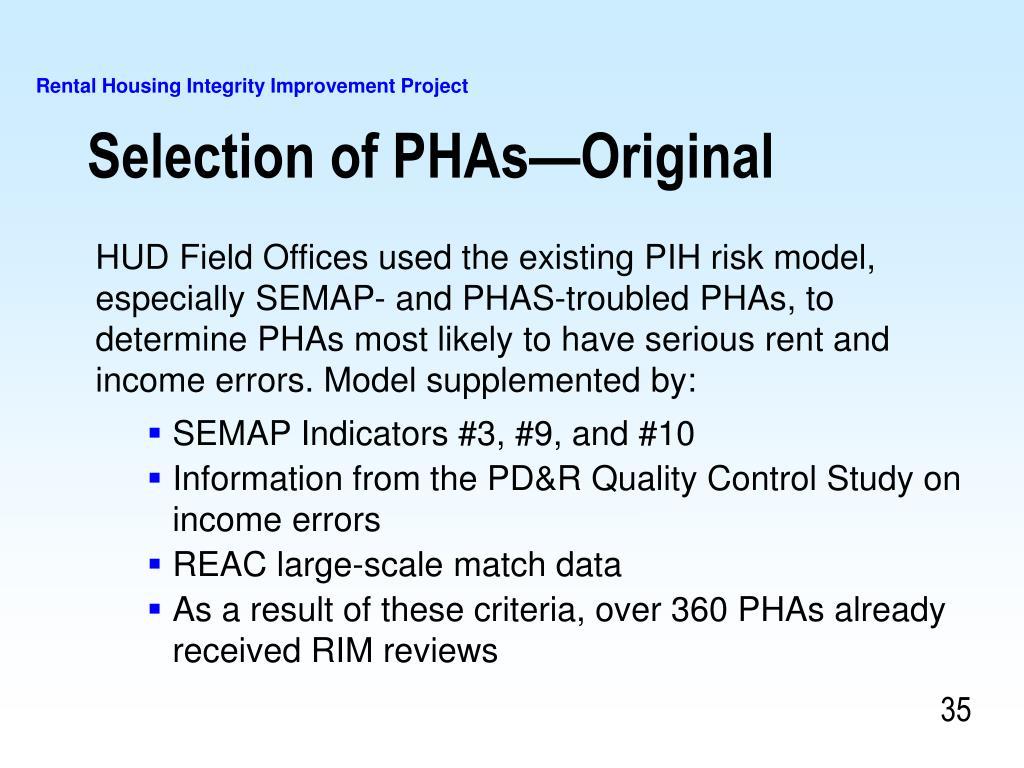 Selection of PHAs—Original