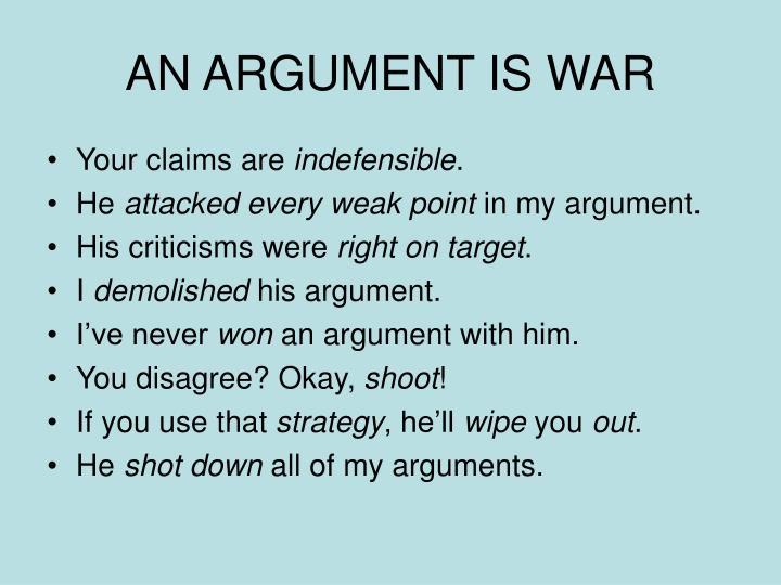 AN ARGUMENT IS WAR
