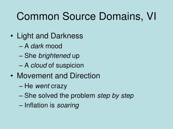 Common Source Domains, VI