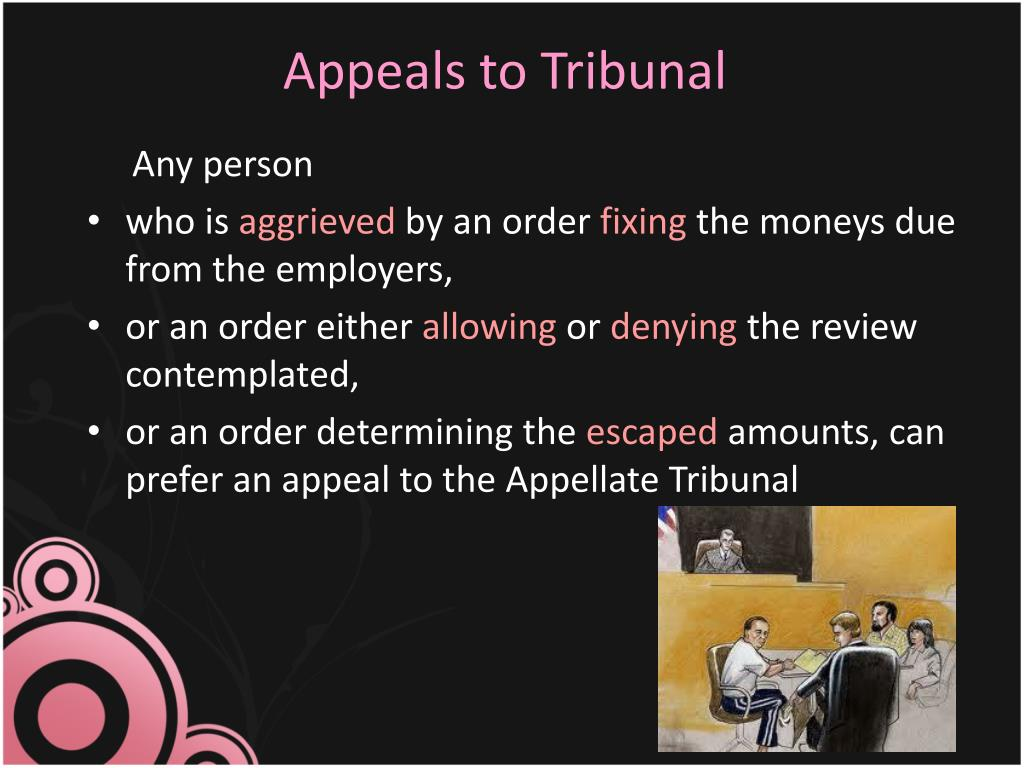 Appeals to Tribunal