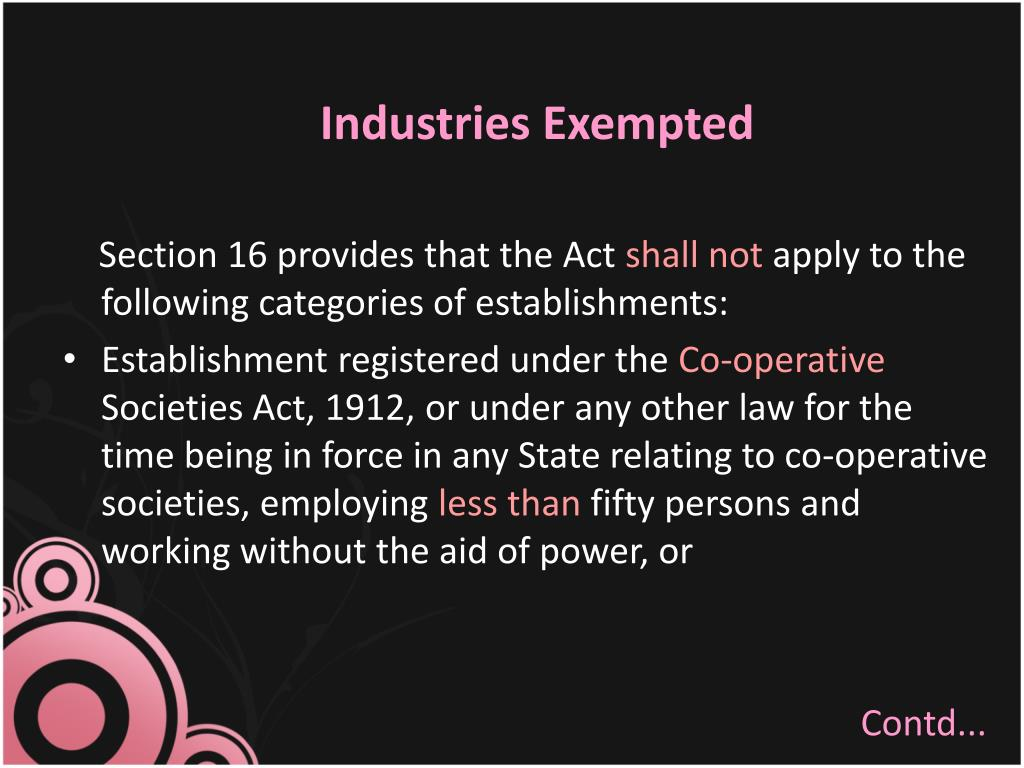 Industries Exempted