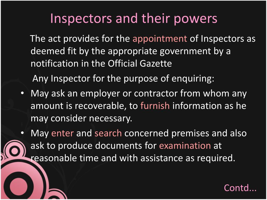 Inspectors and their powers