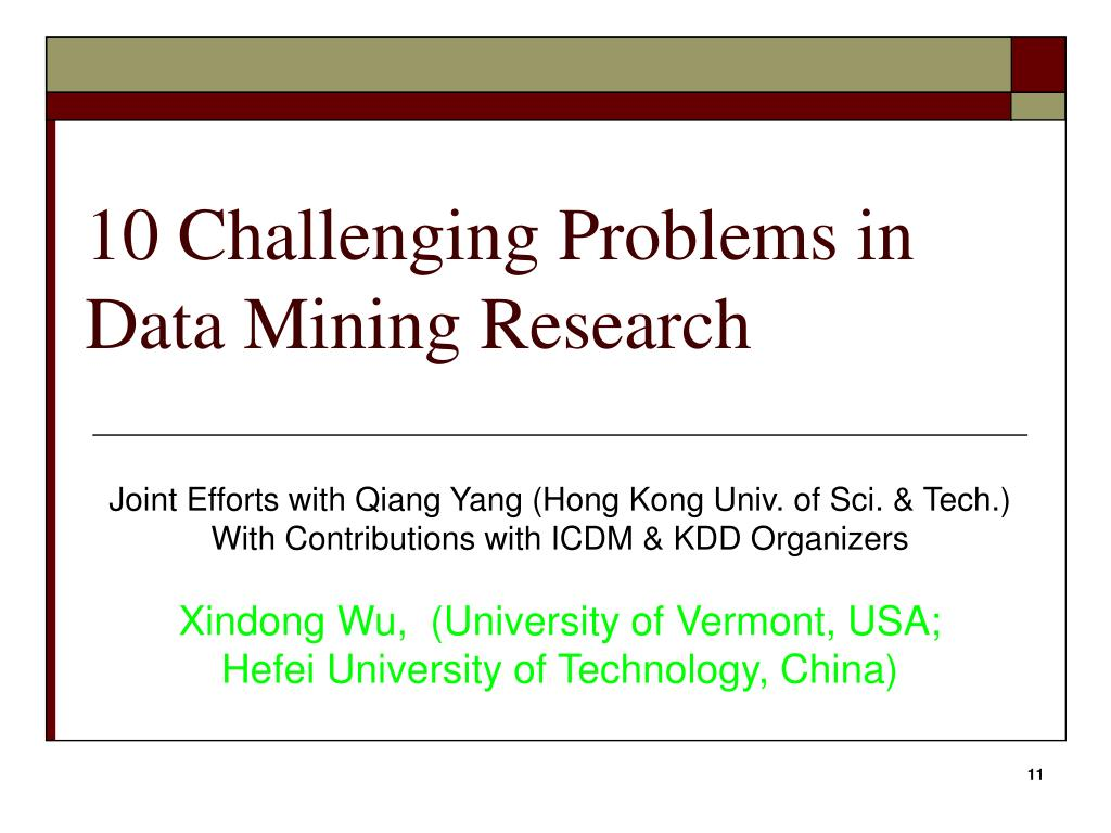 10 Challenging Problems in Data Mining Research