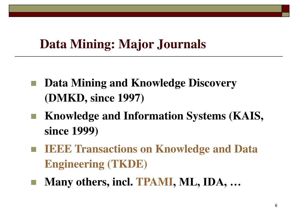Data Mining: Major Journals