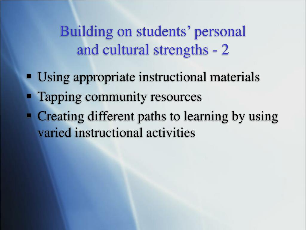 Building on students' personal
