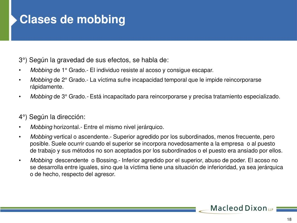 Clases de mobbing