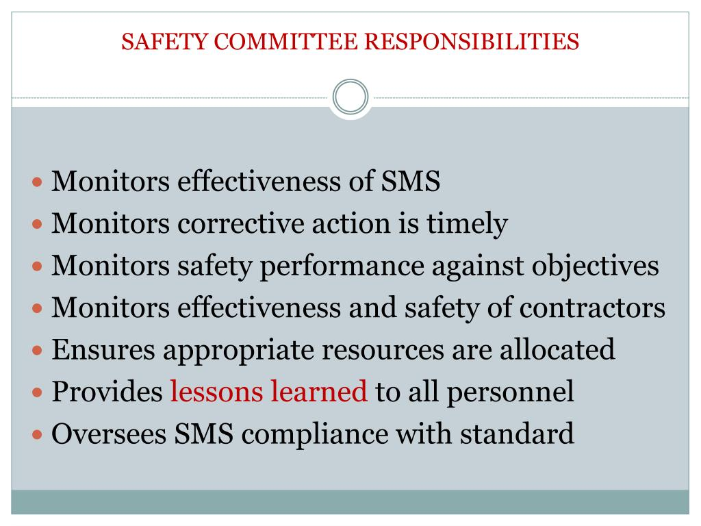 SAFETY COMMITTEE RESPONSIBILITIES