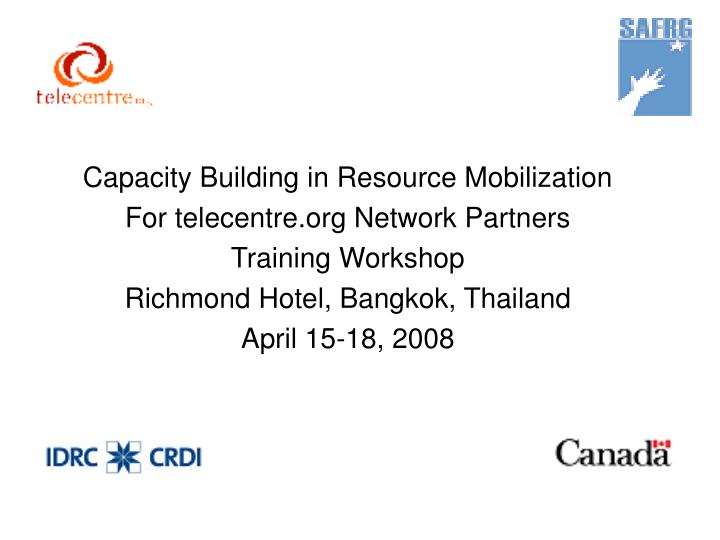 Capacity Building in Resource Mobilization