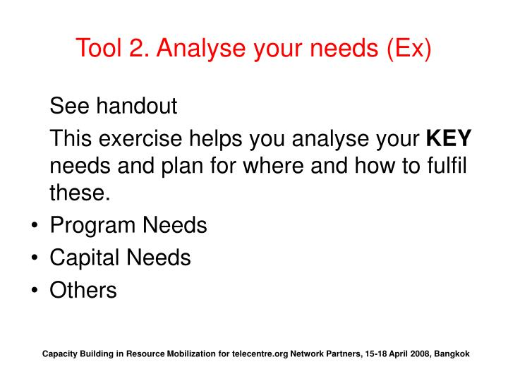 Tool 2. Analyse your needs (Ex)