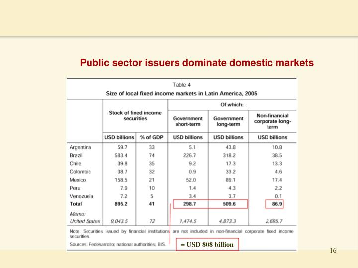 Public sector issuers dominate domestic markets