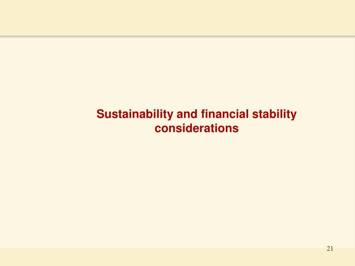 Sustainability and financial stability considerations