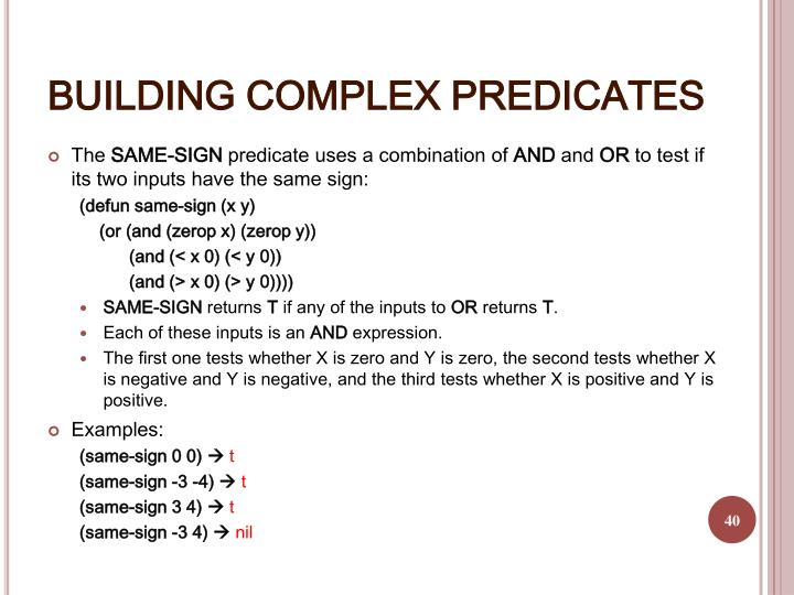BUILDING COMPLEX PREDICATES