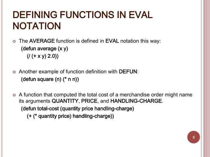 DEFINING FUNCTIONS IN EVAL NOTATION