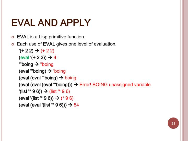 EVAL AND APPLY