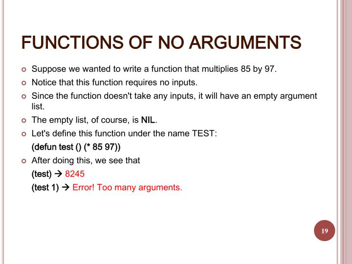 FUNCTIONS OF NO ARGUMENTS