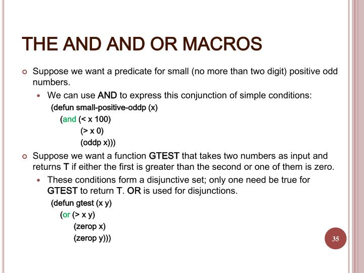 THE AND AND OR MACROS
