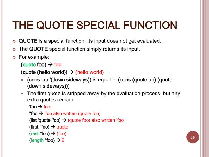 THE QUOTE SPECIAL FUNCTION