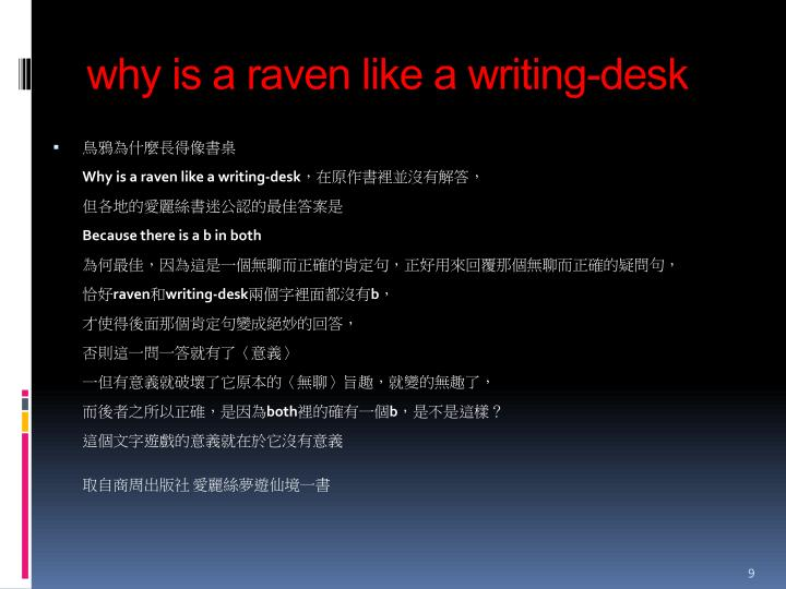 why is a raven like a writing-desk