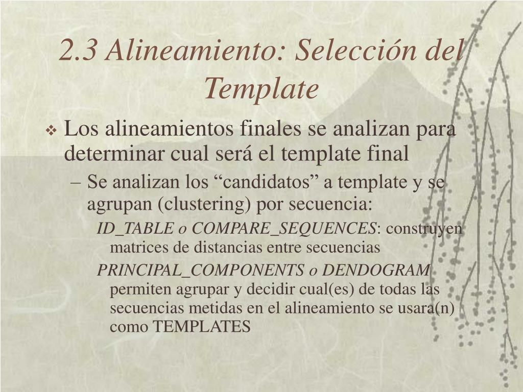 2.3 Alineamiento: Selección del Template