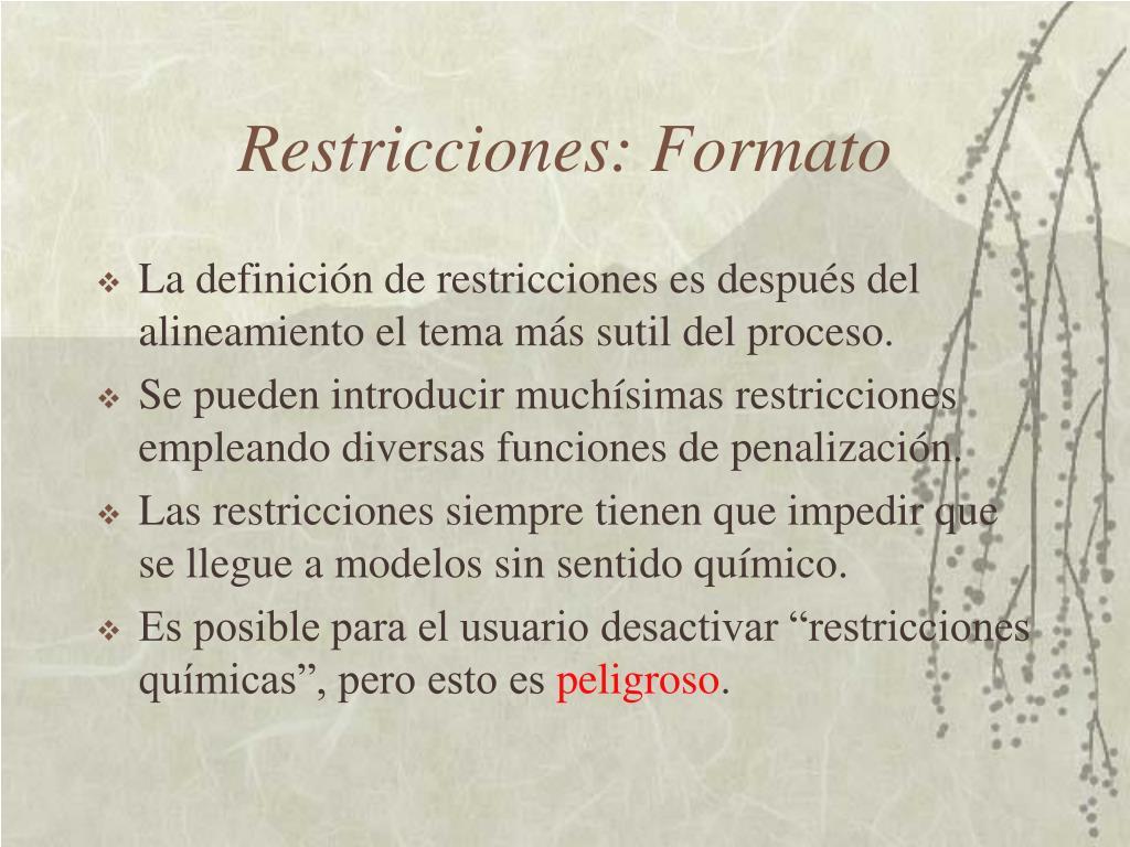 Restricciones: Formato