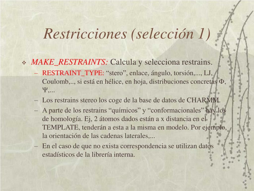 Restricciones (selección 1)