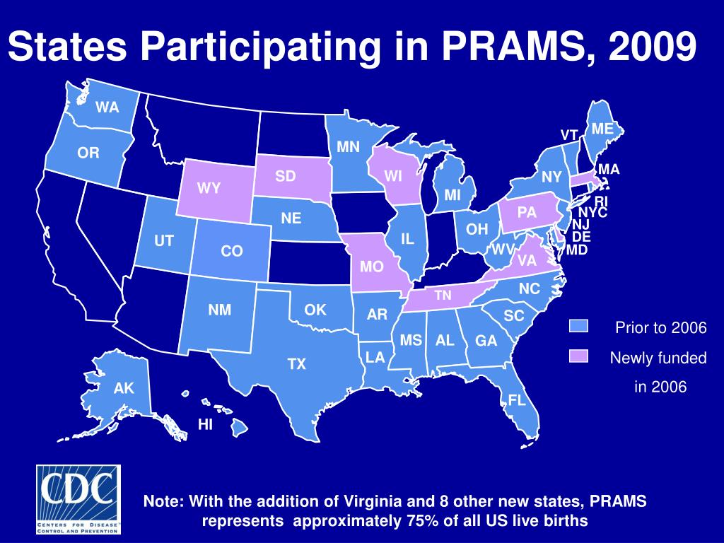 States Participating in PRAMS, 2009