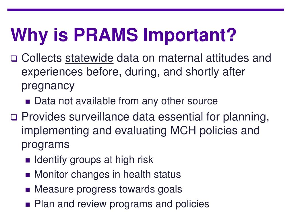 Why is PRAMS Important?