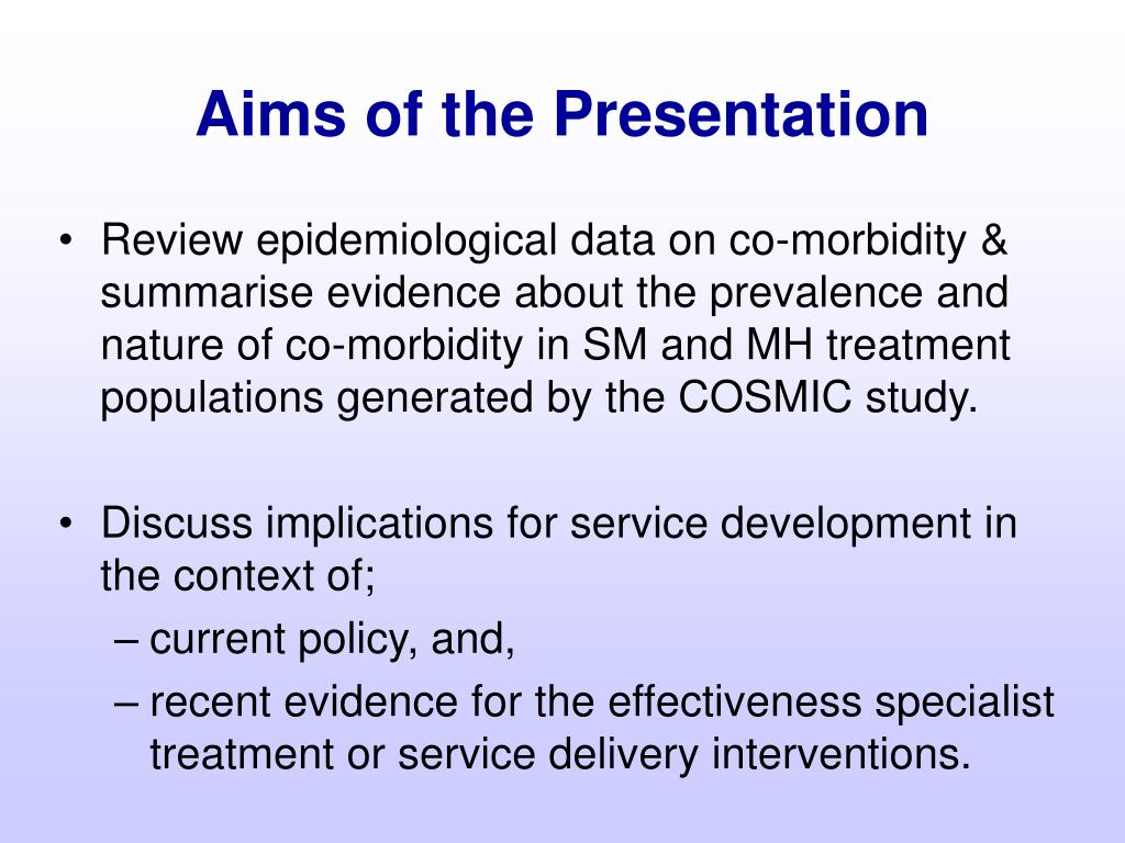 Aims of the Presentation
