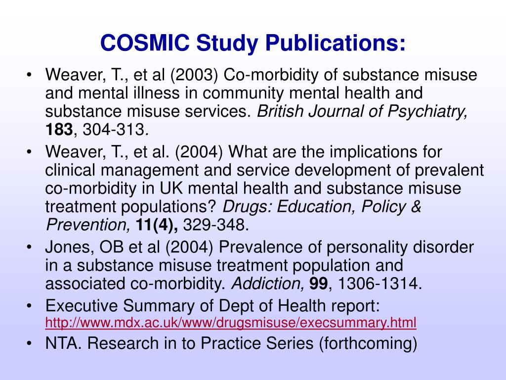 COSMIC Study Publications: