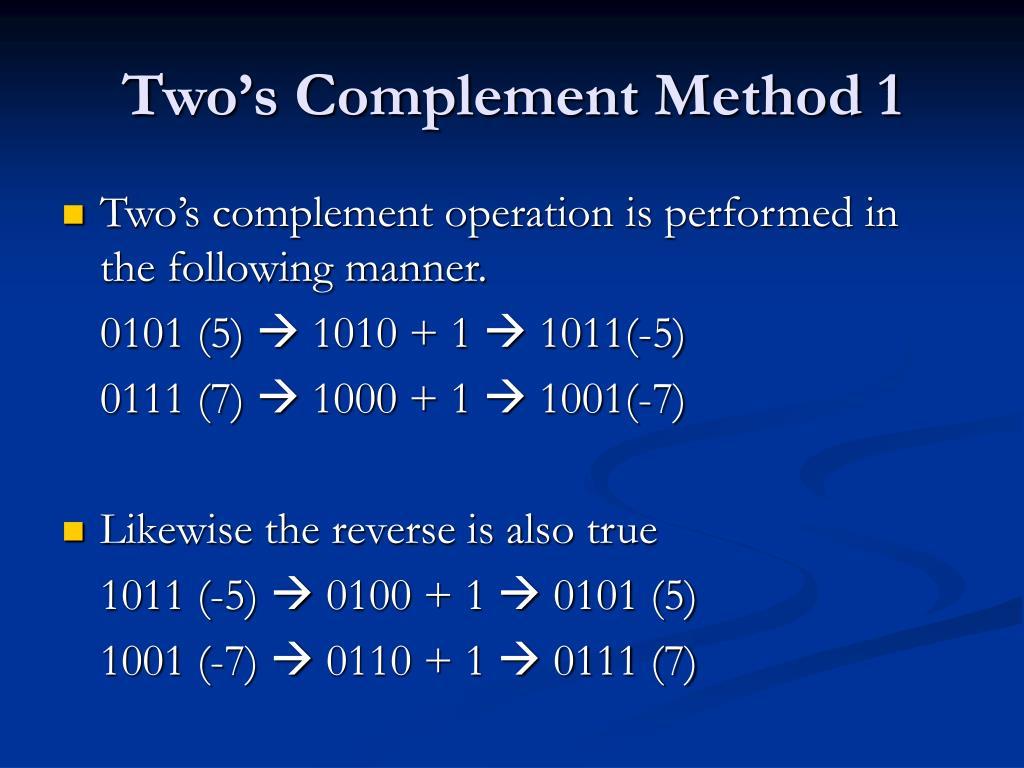 Two's Complement Method 1