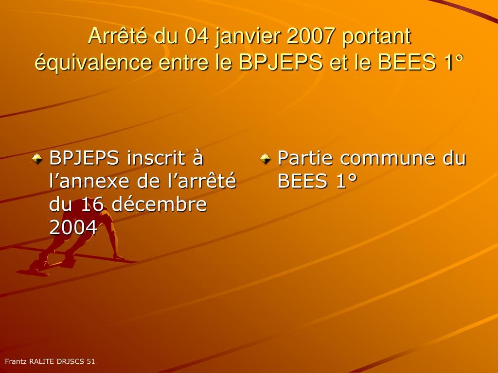 BPJEPS inscrit à l'annexe de l'arrêté du 16 décembre 2004