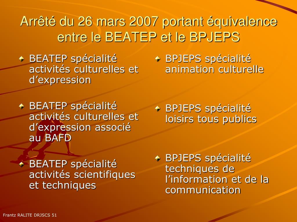 BEATEP spécialité activités culturelles et d'expression