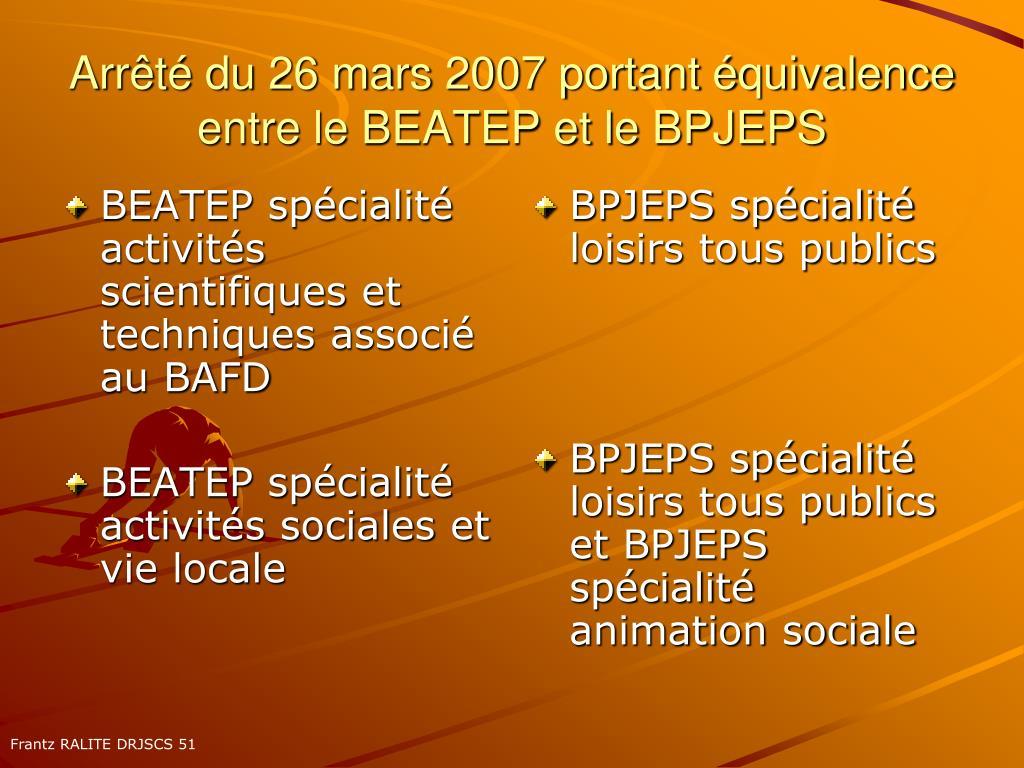 BEATEP spécialité activités scientifiques et techniques associé au BAFD