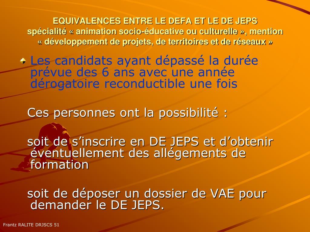 EQUIVALENCES ENTRE LE DEFA ET LE DE JEPS